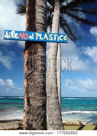sign on coconut palm tree saying