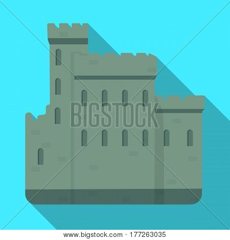 Concrete castle with peaks in Scotland.Fortification of the ancient Scots.Scotland single icon in flat style vector symbol stock web illustration.