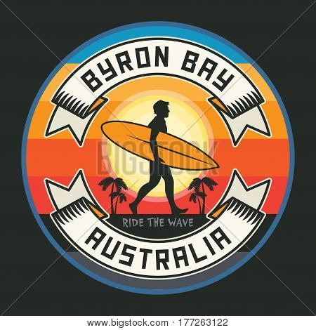 Abstract surfer stamp or sign text Byron Bay Australia vector illustration