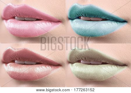 Girly shades. Set of female lips multicolored lips or mouths bright makeup visage beauty colorful lipstick lip gloss fillers cosmetics cosmetology art artistic creative concept