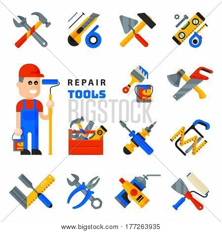 Home repair tools icons working construction equipment set and service worker macter man character flat style isolated on white background vector illustration. Fix instrument accessories.