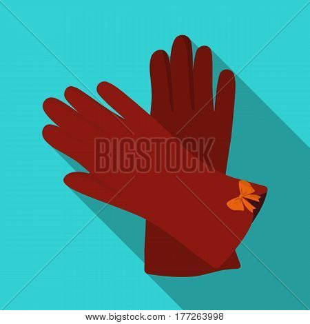 Warm burgundy gloves for hands. Female winter accessory.  Woman clothes single icon in flat style vector symbol stock web illustration.
