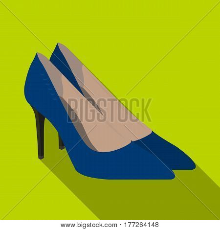 Women s leather shoes with heels. Casual shoes for women dress. Woman clothes single icon in flat style vector symbol stock web illustration.