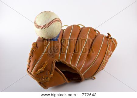 Fielders baseball mitt or glove with baseball on white poster