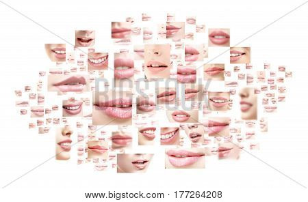 Composite image of female sexy plump full lips with colorful lipstick on isolated on white copyspace beauty cosmetic products sensuality feminine sexuality visage creativity fashion style concept.