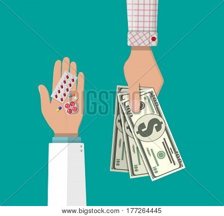 Hand of the pharmacist with pills and hand of client with money. Buying and selling drugs. Pharmacy shop. Vector illustration in flat style