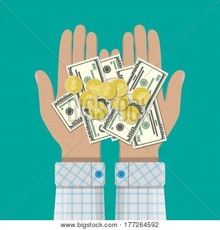 Hands with golden coins and dollar banknotes. Concept of savings, donation, paying. Rich. Success. Vector illustration in flat style