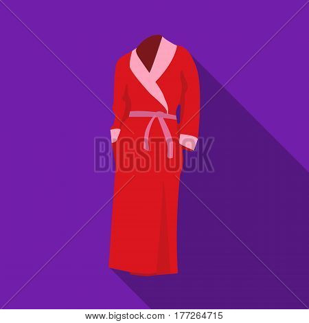 Pink lady s gown after bath. Home clothes for women. Woman clothes single icon in flat style vector symbol stock web illustration.