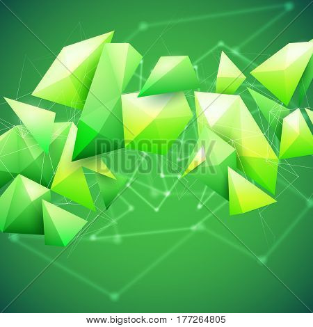 Low poly polygon mesh grid and 3d shapes on unfocused green background