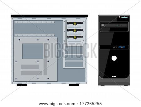 Computer case front and side view isolated on white. PC hardware. Components for personal computer. Vector illustration in flat style