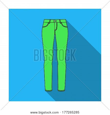 Green skinny pants for women. Women s clothes for a walk.Women clothing single icon in flat style vector symbol stock web illustration.