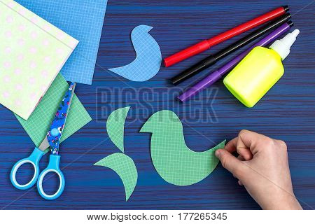 Making a greeting card for Mother's Day. Children's art project. DIY concept. Step-by-step photo instruction. Step 4. Preparation of details for card design