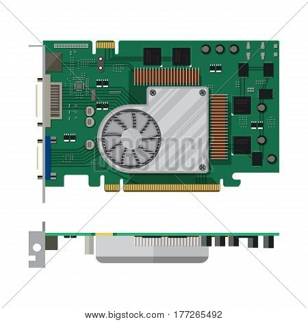Video card isolated on white. PC hardware. Components for personal computer. Graphic card icon. Vector illustration in flat style