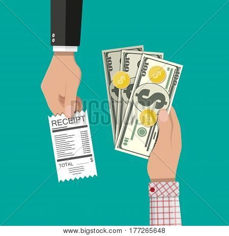 Hand giving receipt bill and another hand giving cash money, Dollar banknote and coins. Cash payments concept. Vector illustration in flat design