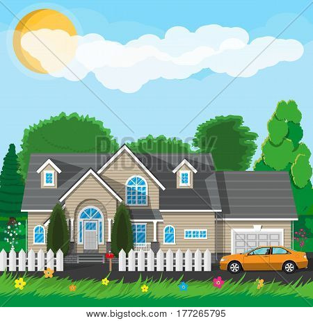 Private suburban house with fence, car, trees, sky, sun and clouds. Vector illustration in flat style