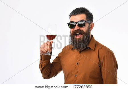 Bearded Man Hipster With Wine Glass In Brown Shirt, Sunglasses