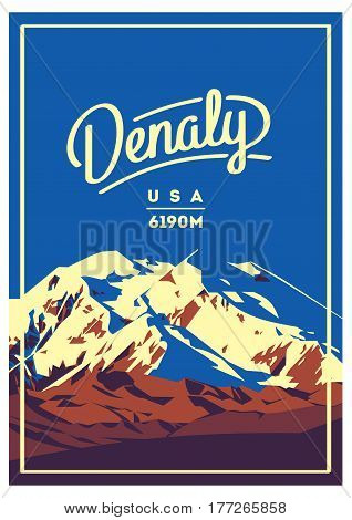 Denali in Alaska Range, North America, USA outdoor adventure poster. McKinley higest mountain illustration. Climbing, trekking, hiking, mountaineering and other extreme activities.
