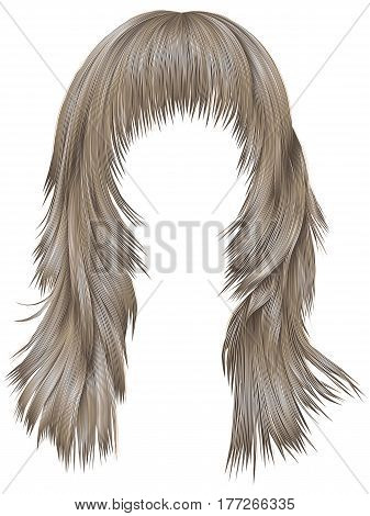 trendy woman long hairs  blond colors .  beauty fashion .   realistic 3d