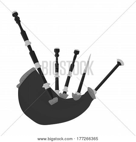 Bagpipes from a cow s stomach.The national musical instrument of Scotland.The Symbol Of Scotland.Scotland single icon in monochrome style vector symbol stock web illustration.