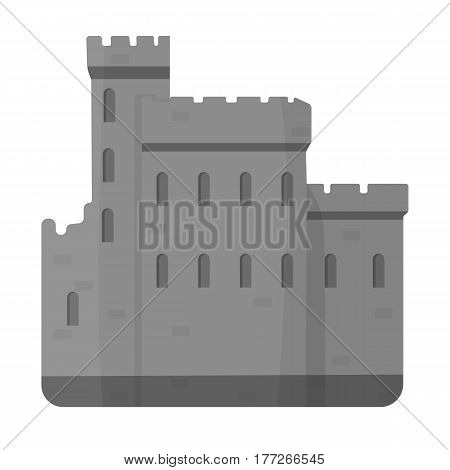 Concrete castle with peaks in Scotland.Fortification of the ancient Scots.Scotland single icon in monochrome style vector symbol stock web illustration.