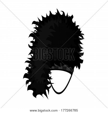 Mask with hair for the Scot.The Scottish national symbol.Scotland single icon in monochrome style vector symbol stock web illustration.