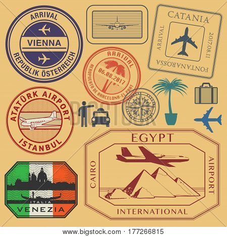 Travel stamps or symbols set airport theme vector illustration