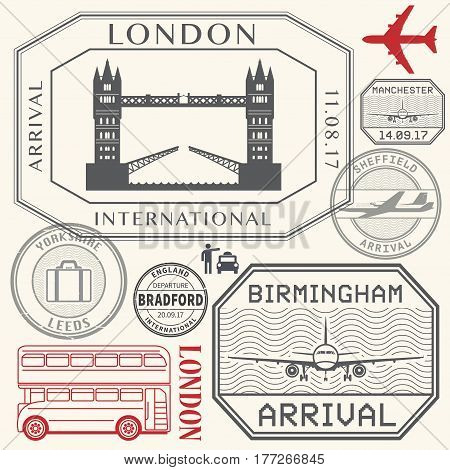Travel stamps or symbols set England London and United Kingdom cities theme vector illustration