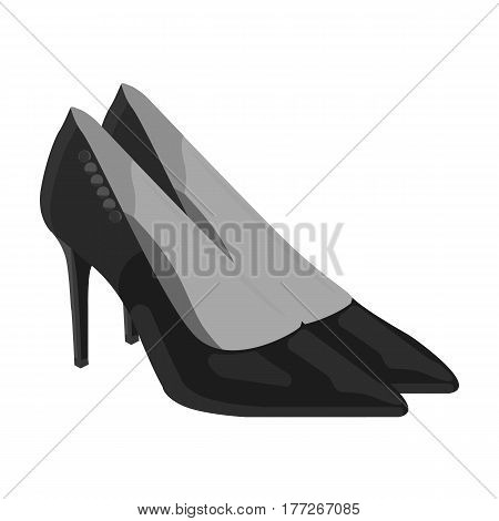 Women s leather shoes with heels. Casual shoes for women dress. Woman clothes single icon in monochrome style vector symbol stock web illustration.