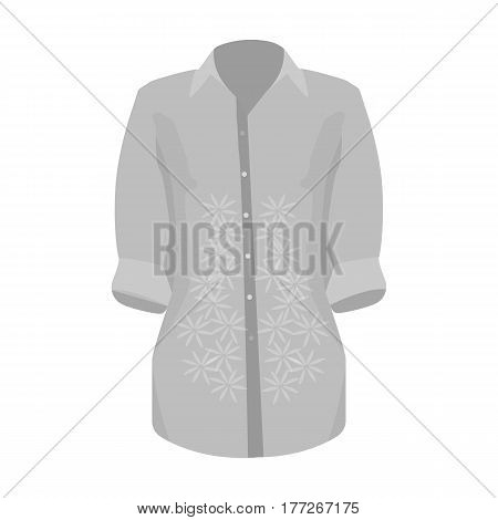 Stylish orange shirt for women. Women dressed in ceremonial clothes.  Woman clothes single icon in monochrome style vector symbol stock web illustration.