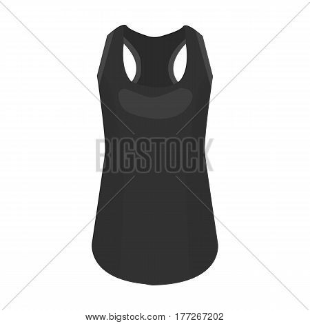 Blue Sports Women s T-shirt. sports clothes. Woman clothes single icon in monochrome style vector symbol stock web illustration.
