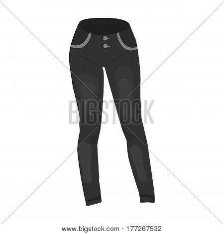 Blue women s jeans. Casual jeans comfortable clothing for women. Woman clothes single icon in monochrome style vector symbol stock web illustration.