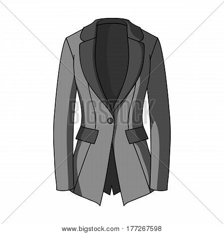 Grey Women s jacket with pockets. Work austere style.Women clothing single icon in monochrome style vector symbol stock web illustration.