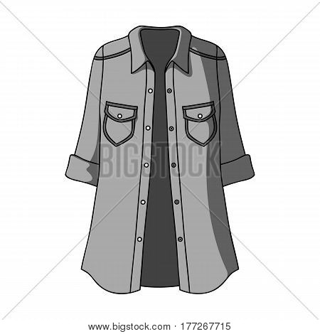 Green Women s jacket with buttons and short sleeves. Casual wear for the stylish woman.Women clothing single icon in monochrome style vector symbol stock web illustration.