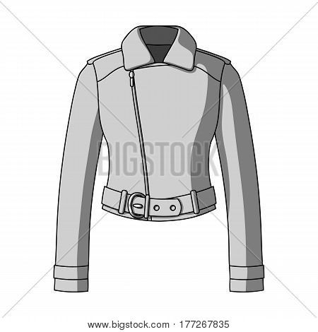 Green youth short leather jackets for confident women.Women clothing single icon in monochrome style vector symbol stock web illustration.