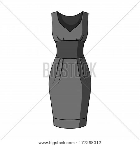 Red long evening dress for a hike in the theater. Women s sleeveless dress.Women clothing single icon in monochrome style vector symbol stock web illustration.