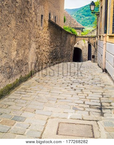 Cobblestone street in the town of Durnstien Austria