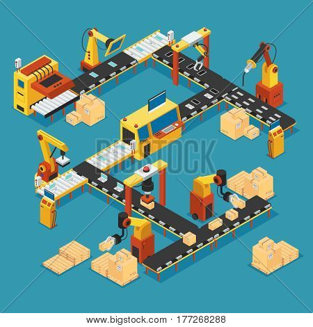 Isometric industrial factory template with automated production line robotic arms welding and packaging machinery vector illustration