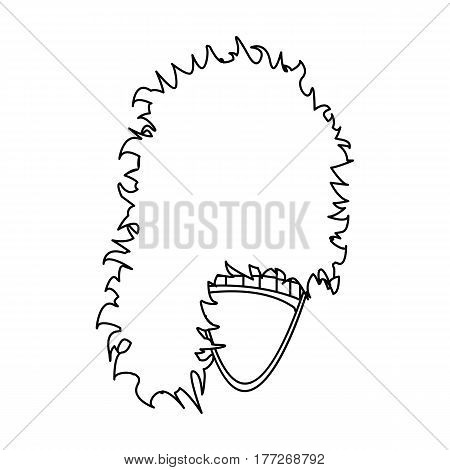 Mask with hair for the Scot.The Scottish national symbol.Scotland single icon in outline style vector symbol stock web illustration.