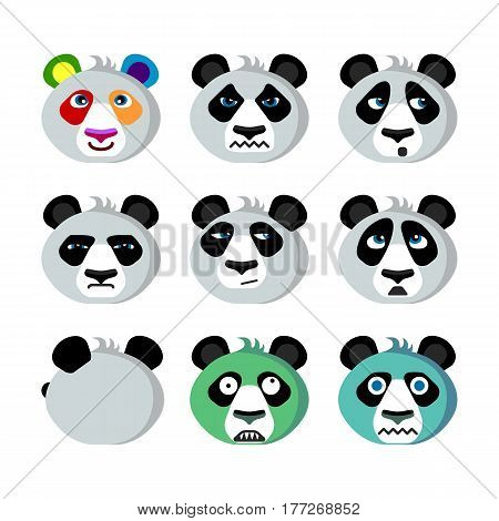 Funny humorous emoticons of emotional panda; Panda with a rainbow mood; Angry arrogant; Panda zombies and Winter here