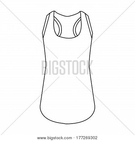 Blue Sports Women s T-shirt. sports clothes. Woman clothes single icon in outline style vector symbol stock web illustration.