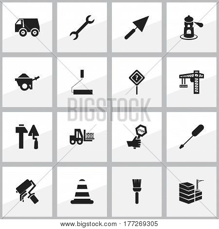Set Of 16 Editable Building Icons. Includes Symbols Such As Trolley, Lorry, Crane And More. Can Be Used For Web, Mobile, UI And Infographic Design.