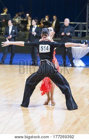 Minsk Belarus-February 19 2017: Dance Couple of Moiseenko Nikita and Makarova Elena Performs Adults Latin-American Program on WDSF Minsk Open Dance Festival-2017 on February 19 2017 in Minsk Belarus.