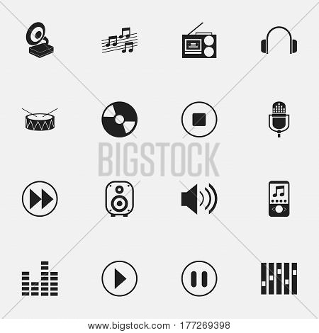 Set Of 16 Editable Melody Icons. Includes Symbols Such As Rewind, Cassette Player, Disc And More. Can Be Used For Web, Mobile, UI And Infographic Design.