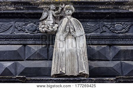 Sculpture of St. Florian on facade of the Black House (Chorna Kamenica) on Market Square in Lvov Western Ukraine