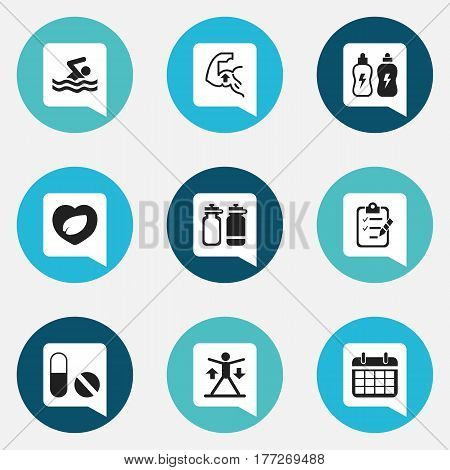 Set Of 9 Editable Training Icons. Includes Symbols Such As Leaf In Heart, Training, Questionnaire And More. Can Be Used For Web, Mobile, UI And Infographic Design.