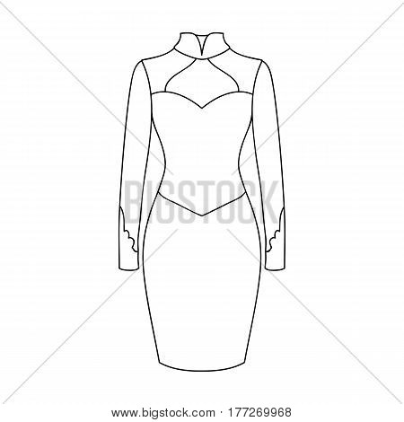 Strict two-color female dress to the knee. Dresses working style.Women clothing single icon in outline style vector symbol stock web illustration.