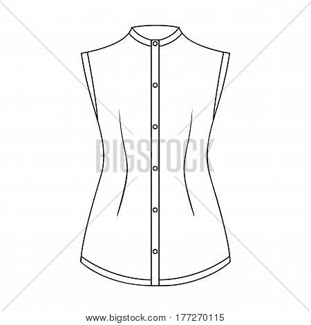Beige button-down shirt without sleeves for the girl. Casual dress style.Women clothing single icon in outline style vector symbol stock web illustration.
