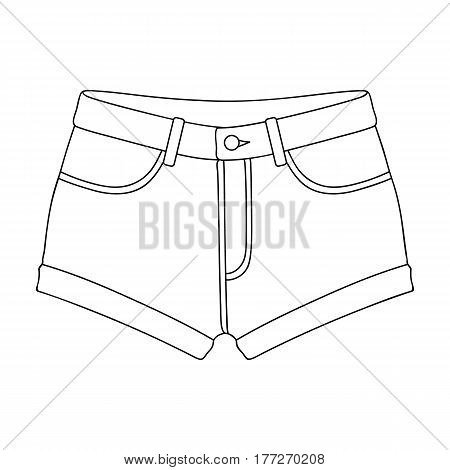 Short purple women s shorts with a blue rubber band. Shorts for sports in the summer on the street.Women clothing single icon in outline style vector symbol stock web illustration.