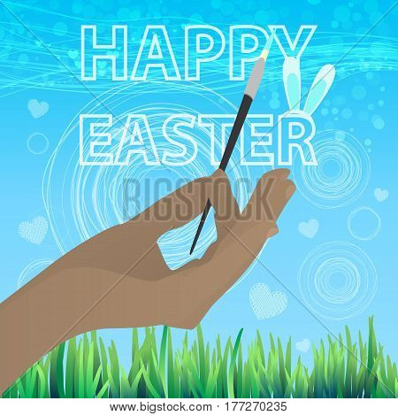 EASTER happy.Ru keep the brush. Concept of a family holiday. Illustration for your design