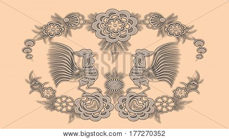Background color apricot with folk patterns can be used in the design textile printing industry in a variety of design projects.